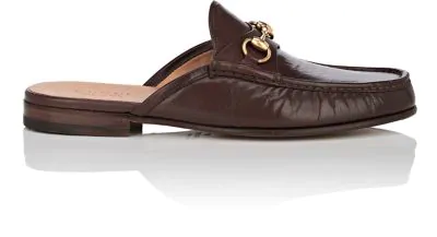 Gucci Horse-Bit Leather Slippers In Brown