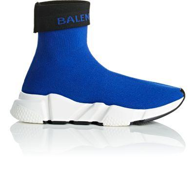 Balenciaga Women's Blue Logo Speed Stretch-Knitted Trainers
