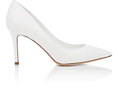 Barneys New York Pointed-Toe Leather Pumps In White