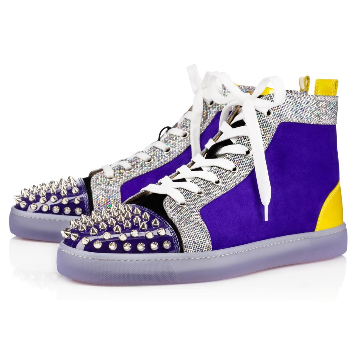 e731a51d43a4 Christian Louboutin Lou Spikes Glitter Disco Ball Multicolor Glitter Canvas  - Men Shoes -