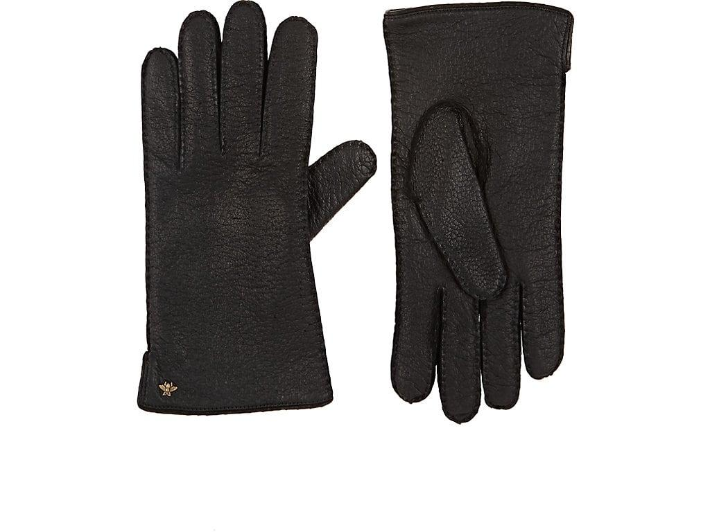 Gucci Grained Leather Gloves In Black