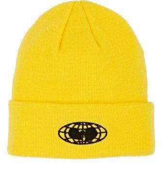 f8b745d2eb6 Wu Wear Logo Double-Knit Beanie - Yellow