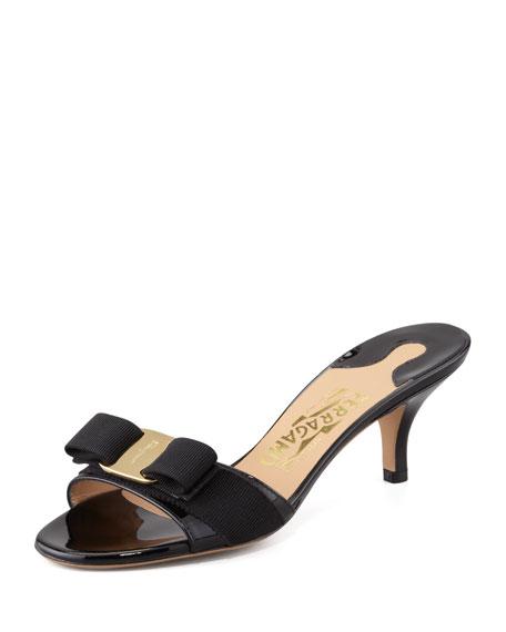 ef819ba25d906 Salvatore Ferragamo Glory Open Toe Slide Kitten Heel Sandals In Nero ...