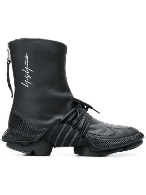 Yohji Yamamoto Lace-Up Ankle Boots - Black