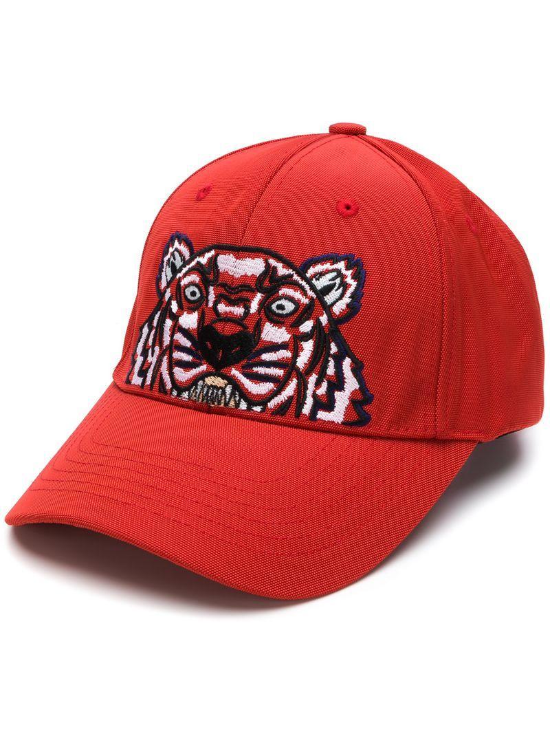 87380b83e77 Kenzo Tiger Canvas Baseball Cap In Red