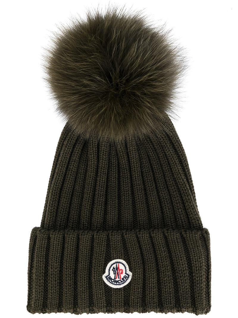 d639eed1a8eace Moncler Army Green Pompom Wool Beanie | ModeSens
