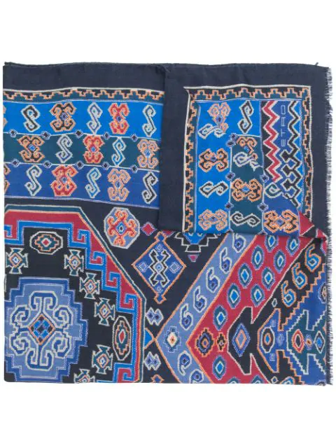 Etro Abstract Print Scarf - Blue