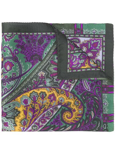 Etro Paisley Print Scarf In Green