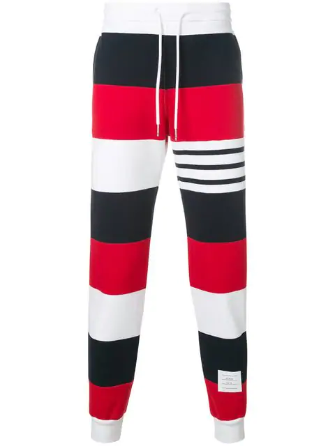 Thom Browne Striped Cotton-Jersey Jogging Bottoms In Multicolour