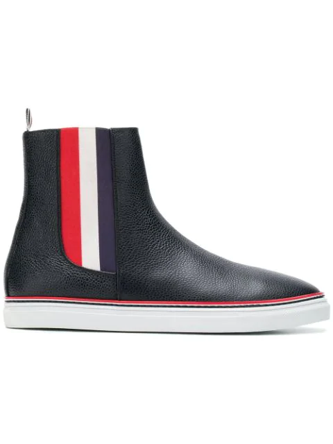 Thom Browne Men's Chelsea Leather High-Top Sneakers With Stripes In Blue