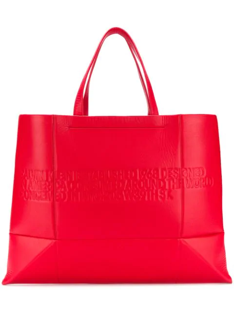 Calvin Klein 205W39Nyc Embossed Logo Tote Bag In Red