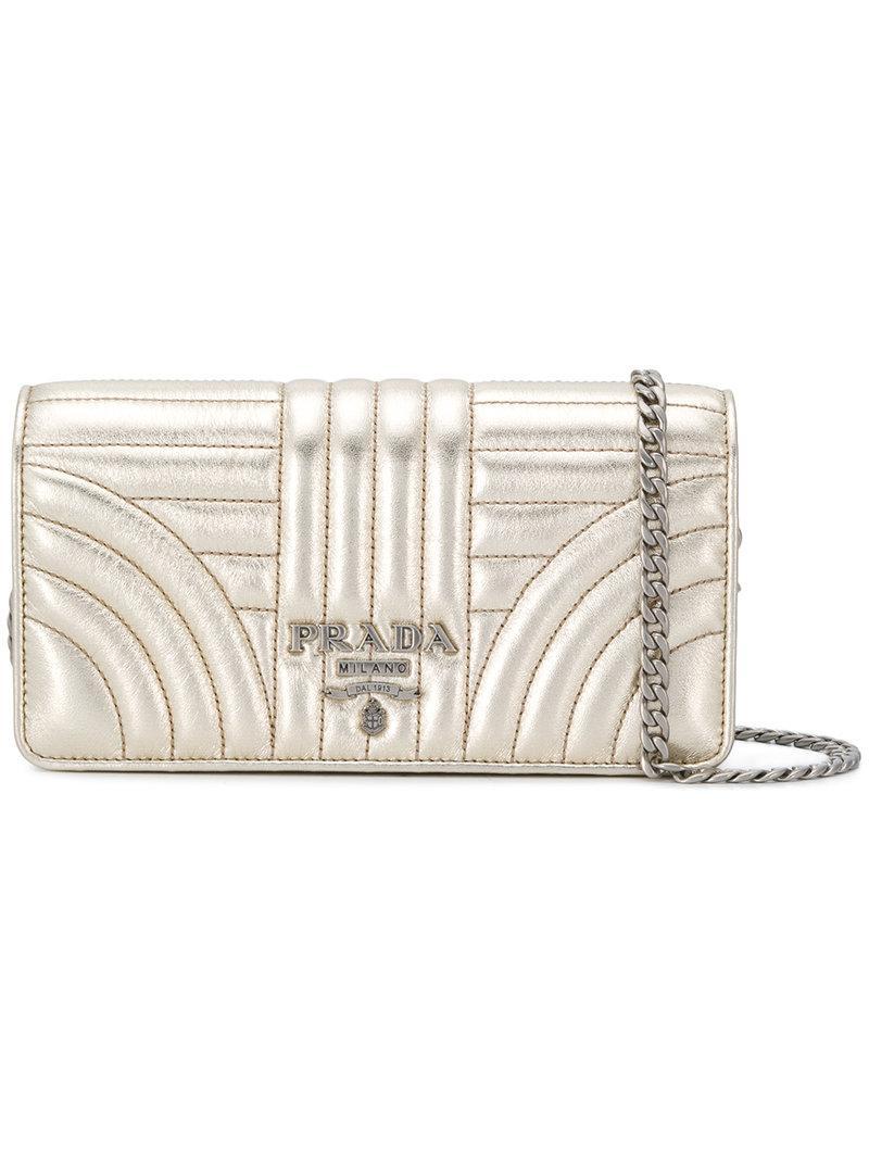 84125ea12d8f Prada Logo Quilted Shoulder Bag In Metallic | ModeSens