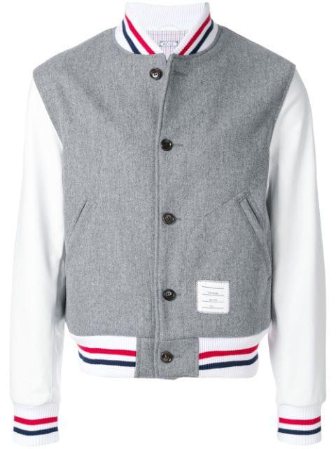 Thom Browne Button Front Melton Wool Varsity Jacket - Grey