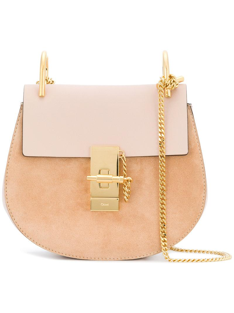 ChloÉ Leather And Suede Drew Mini Shoulder Bag In Cement Pink