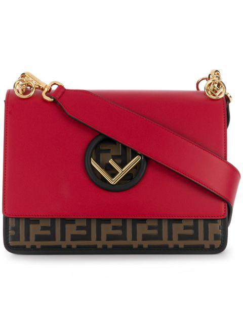 Fendi Small Kan I F Leather Shoulder Bag In Red
