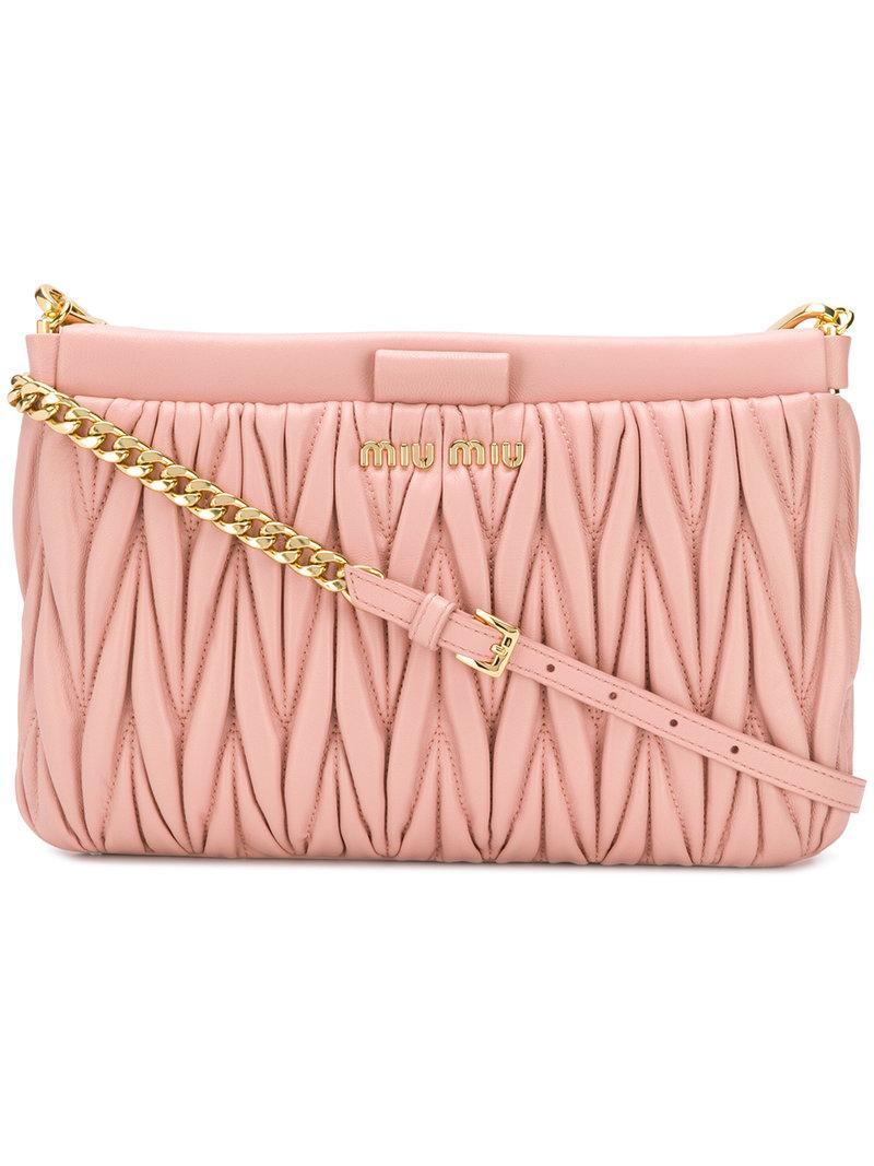 4aef46a026bc Miu Miu MatelassÉ Clutch Bag In Pink   Purple