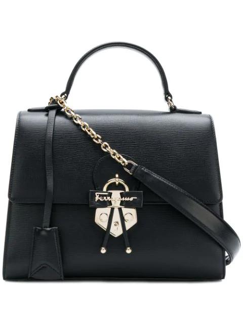 a2ef6f780ce5a Salvatore Ferragamo Gancio Embellished Top Handle Bag - Black | ModeSens