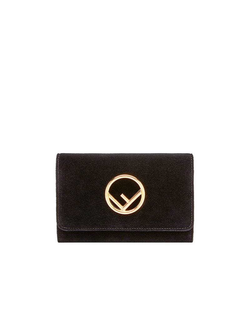c70a3b8ff6 Black cotton blend velvet wallet on chain mini bag from Fendi featuring  gold-tone hardware