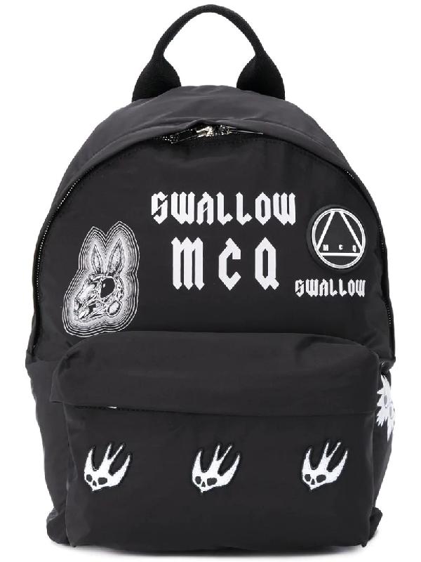 Mcq By Alexander Mcqueen Mcq Alexander Mcqueen Sponsorship Black Nylon Men's Backpack W/ Badges
