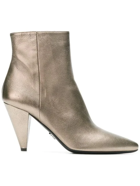 Prada Pointed Toe Ankle Boots In Metallic