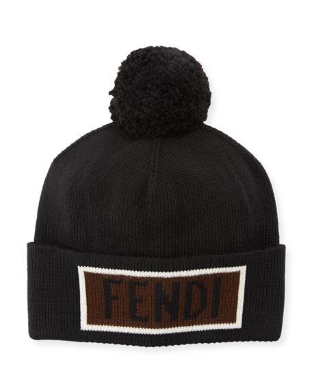 a8199eea26d Fendi Black Beanie With Pompon And Love Logo