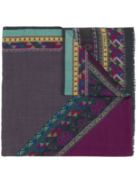 Etro Mix Print Scarf In Green