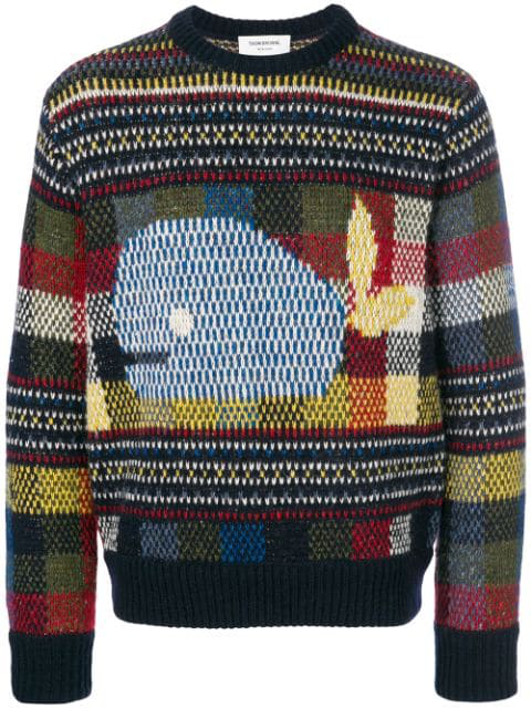 Thom Browne Whale Fair Isle Tweed Pullover - Blue