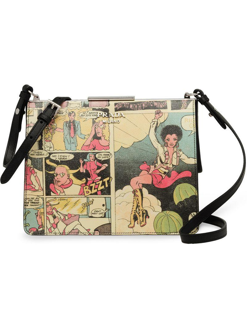 5824f92a87ed Prada Comic Print Shoulder Bag In Blue | ModeSens