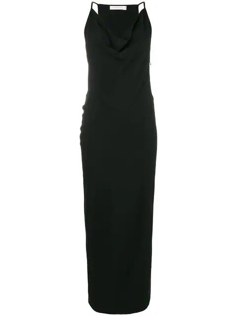 Victoria Beckham Cowl Neck Long Dress In Black