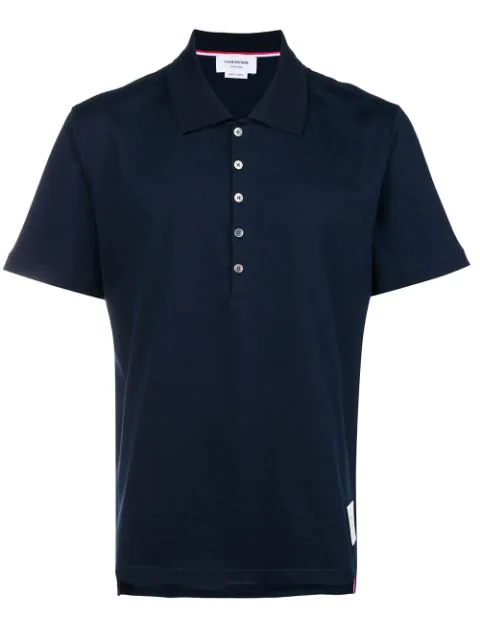 Thom Browne Button Polo Shirt In Blue