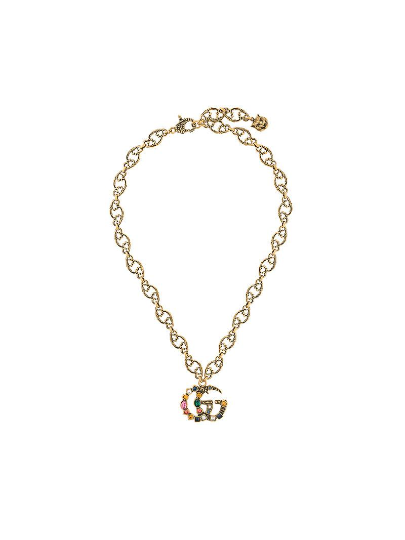 a69f45951 Gucci Crystal Double G Necklace - Metallic   ModeSens