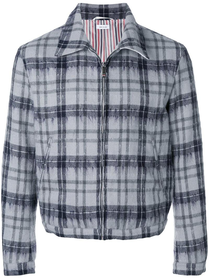 Thom Browne Tartan Elastic Hem Hairy Mohair Golf Jacket In Grey