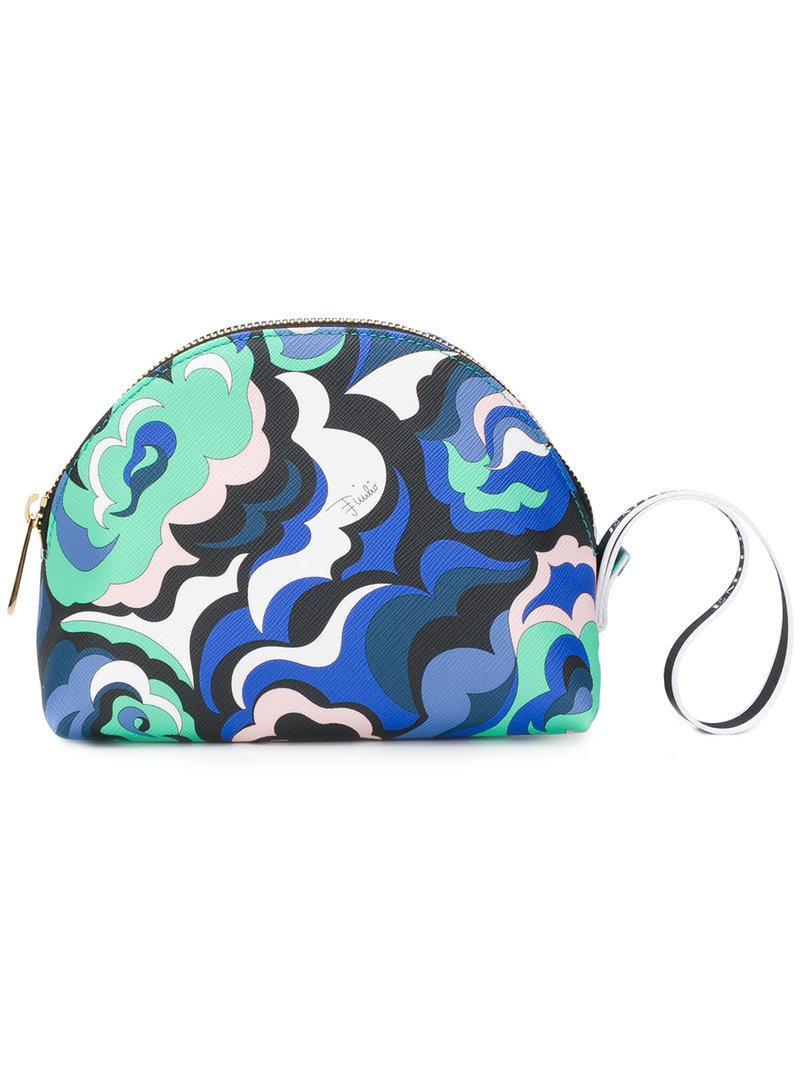 Emilio Pucci Abstract Print Makeup Bag Blue