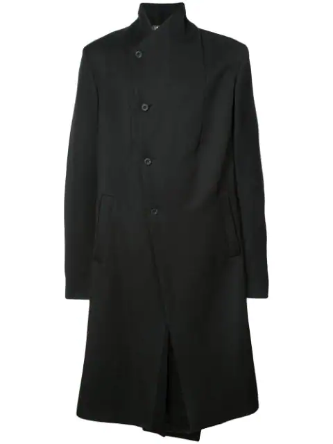 Lost & Found Single Breasted Asymmetric Coat In Black