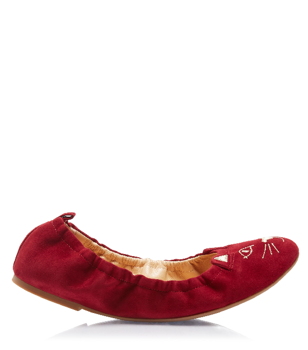 Charlotte Olympia Kitty Ballerina Flats In Red