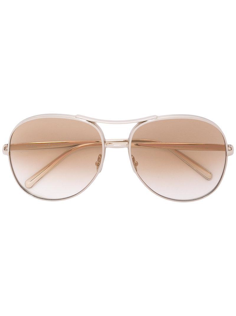1e8370e7fabc Light brown and gold-tone Nola sunglasses from Chloé featuring gold-tone  hardware