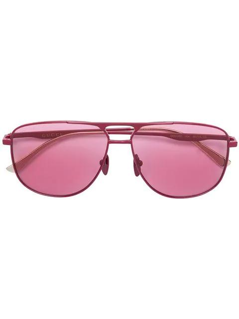 Gucci Eyewear Aviator Frame Sunglasses - Pink
