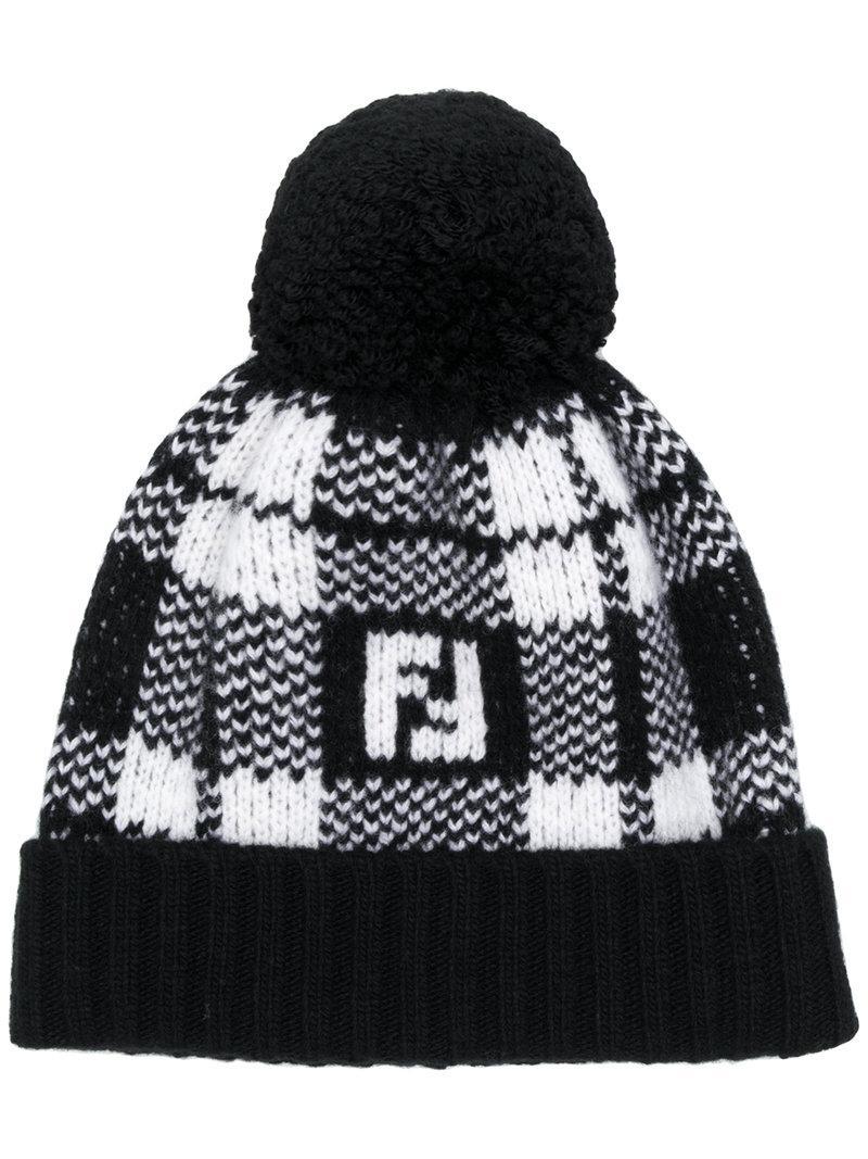 05fe8c2f079f7 Fendi Ff Tartan Beanie Hat In Black
