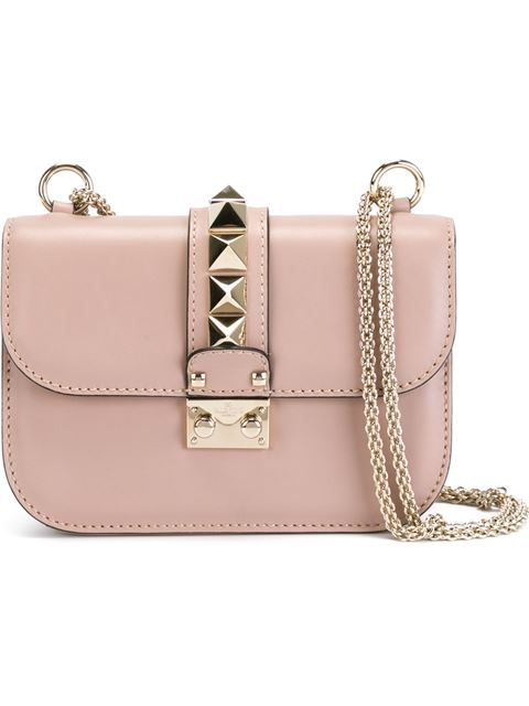Valentino Poudre 'Lock' Small Shoulder Bag In Pink