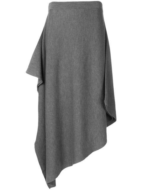 Jw Anderson Mid Grey Melange Asymmetric Skirt