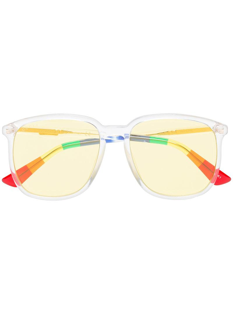 Gucci Eyewear Sonnenbrille Mit Streifendetail - Gelb In Yellow & Orange