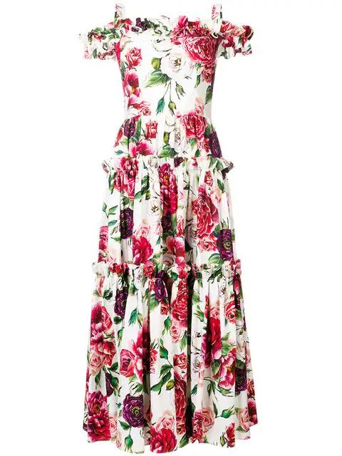 Dolce & Gabbana Cold-Shoulder Floral-Print Cotton Maxi Dress In White