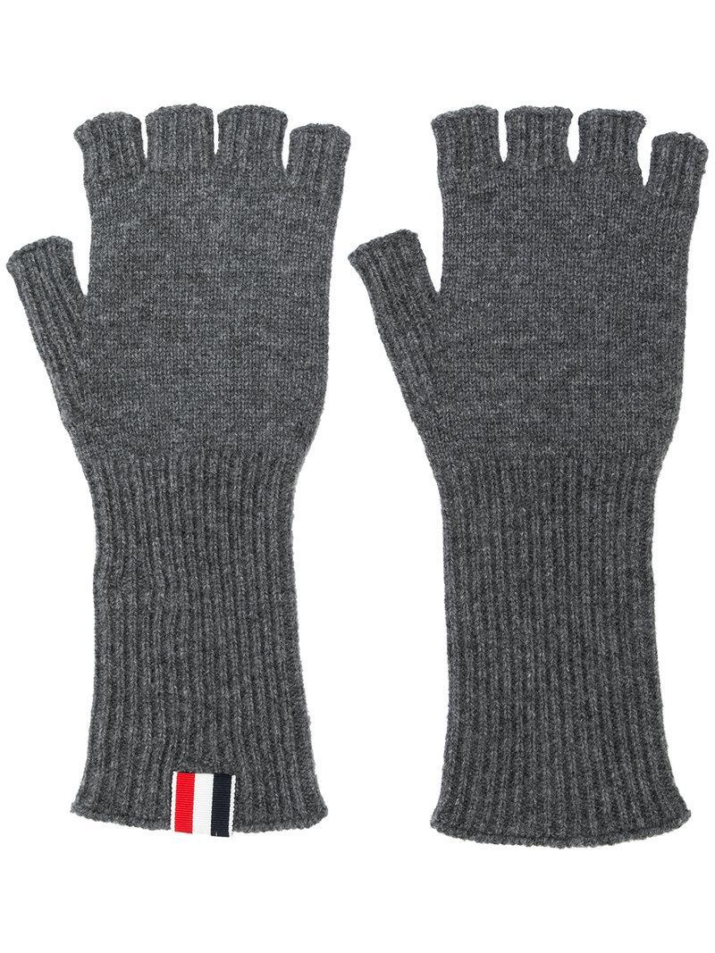 Thom Browne Fingerless Cashmere Gloves - Grey