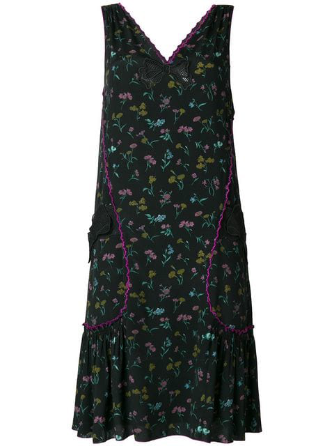 Coach Floral Print Pleated Dress In Blc