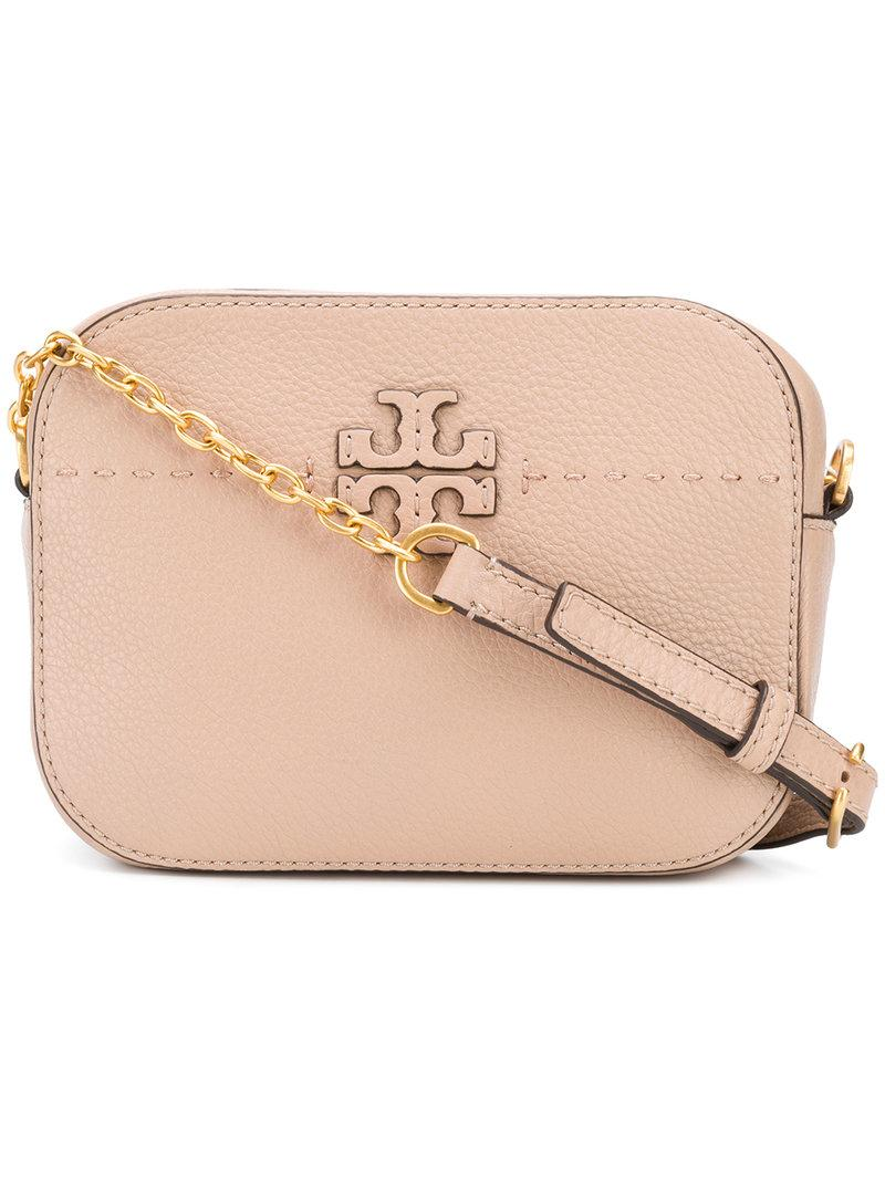 aa4b06497b13 Logo appliques add subtle signature style to a structured camera bag shaped  from richly pebbled leather. Style Name  Tory Burch Mcgraw Leather Camera  Bag.