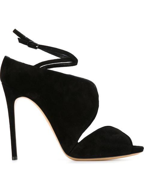 Casadei Crisscross Velvet Ankle-Tie Sandals In Black