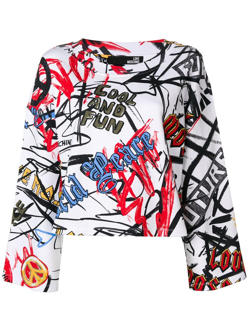 Love moschino graffiti print sweatshirt white