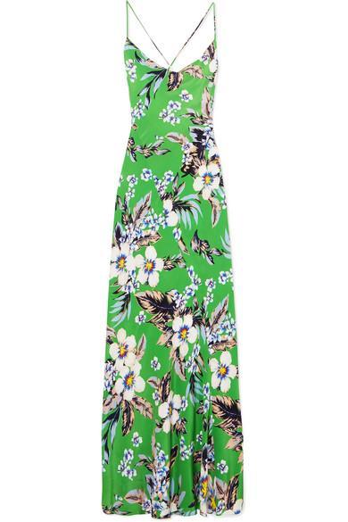 Diane Von Furstenberg Floral-Print Silk Crepe De Chine Maxi Dress In Green