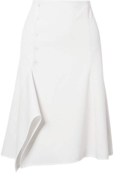 79ef0916ac Narciso Rodriguez Asymmetric Stretch-Wool Midi Skirt In White | ModeSens