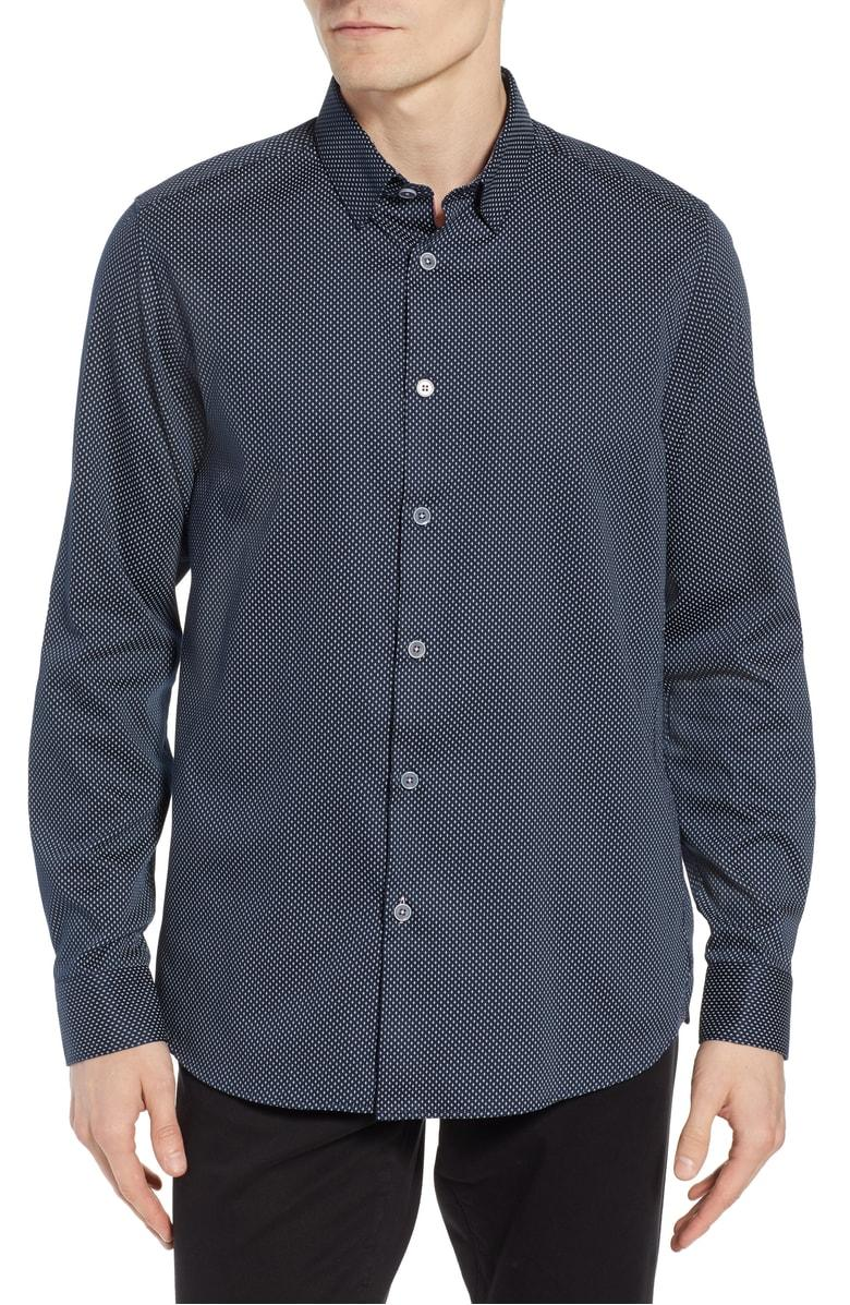 3ec129790 Ted Baker Boomtwn Micro Geo Regular Fit Button-Down Shirt In Navy ...